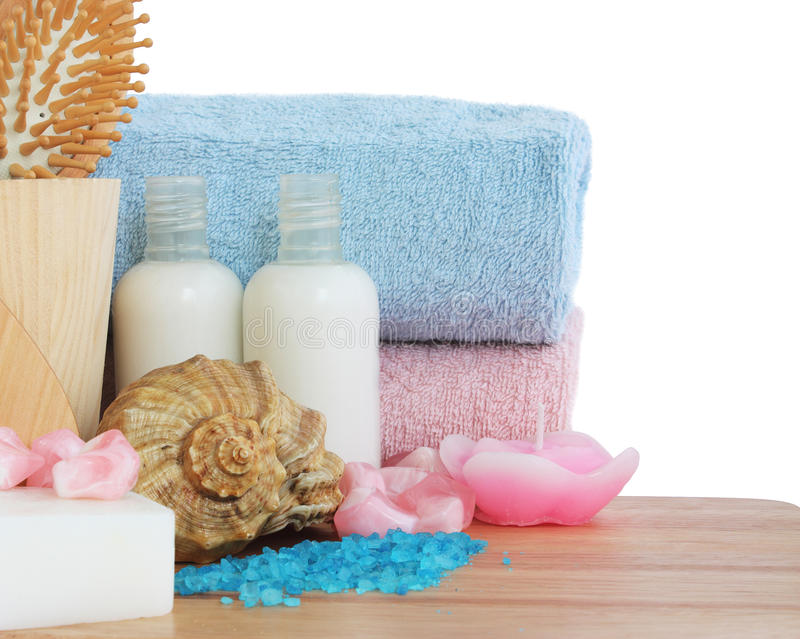 Body care and relaxation. Set of objects for body care and relaxation stock photography