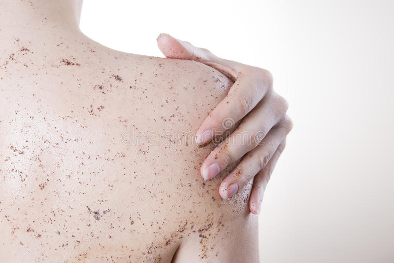 Body care, skin peeling back royalty free stock photos