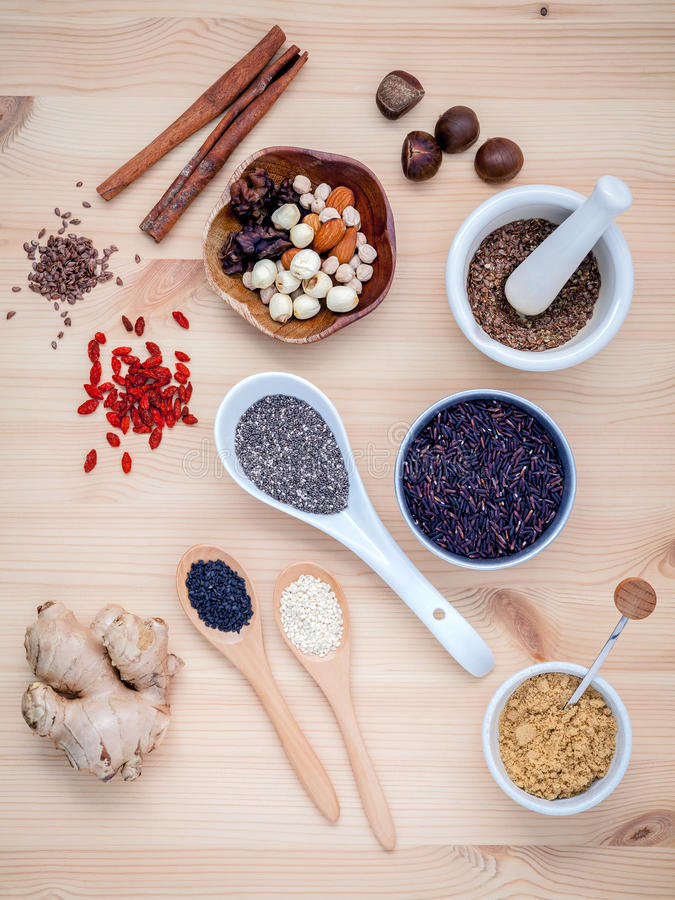 Body care and super health food selection with supplement powder royalty free stock photos