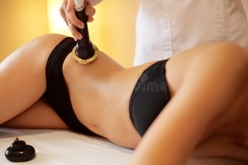 Body Care. Ultrasound Cavitation Body Contouring Treatment. Ant. I Cellulite stock image