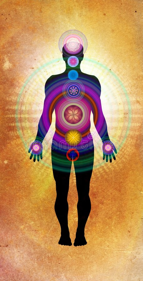 Body Chakras - healing energy royalty free illustration