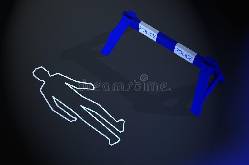 Body chalk outline at crime scene royalty free illustration