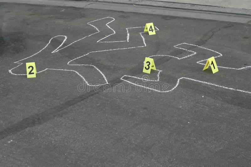 Body Chalk Outline W Number Markers Royalty Free Stock Photography