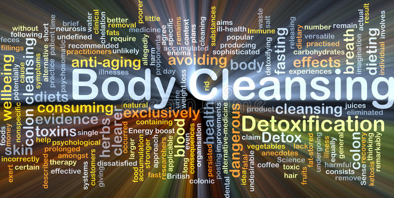Body cleansing background concept glowing. Background concept wordcloud illustration of body cleansing glowing light vector illustration