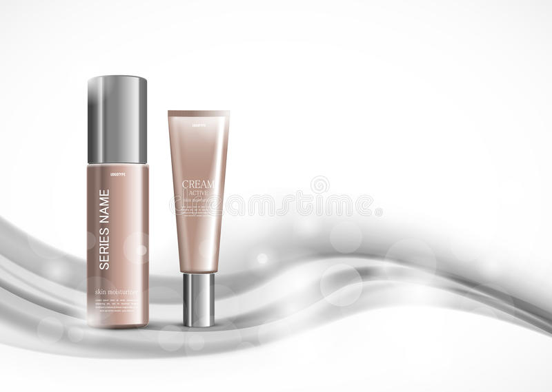 Body cream cosmetic design template. With skin moisturizer realistic packages on gray light wavy soft dynamic lines background. Vector illustration royalty free illustration