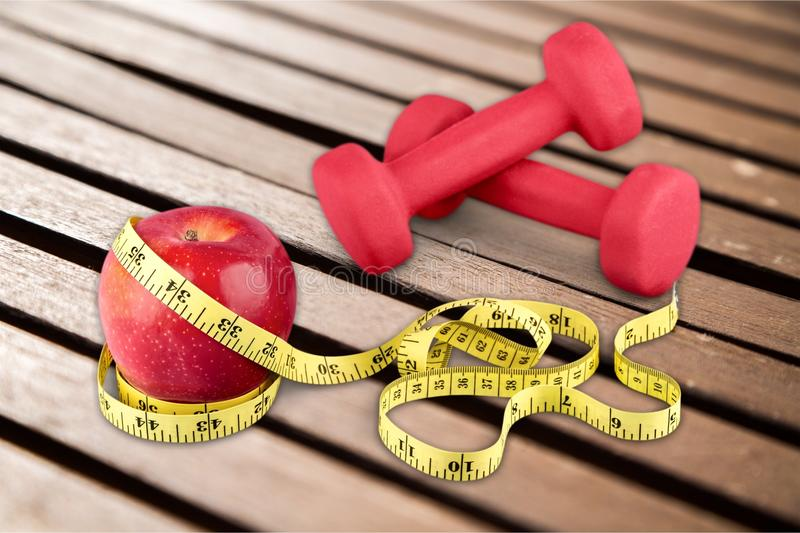 Body fitness. Exercise health measure measurement physical sew royalty free stock photo