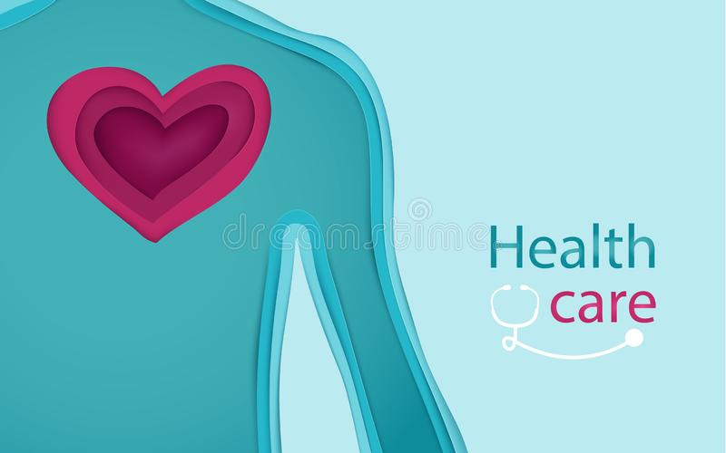 Body and heart form 3d paper art style. Health and care concept vector illustration