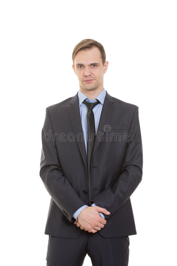Body language. man in business suit isolated white. Body language. man in business suit isolated on white background stock photo