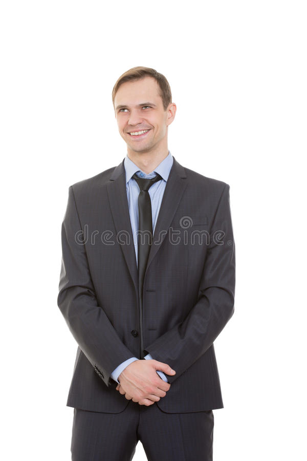 Body language. man in business suit isolated white. Body language. man in business suit isolated on white background royalty free stock photo