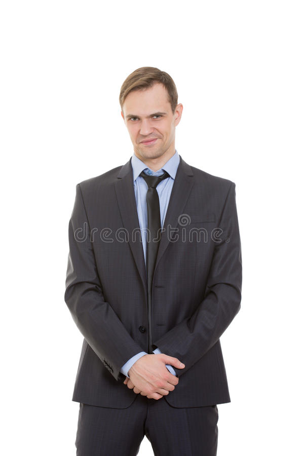 Body language. man in business suit isolated white. Body language. man in business suit isolated on white background royalty free stock image