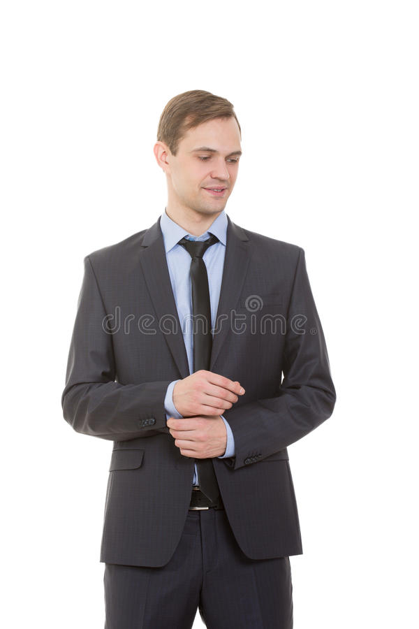 Body language. man in business suit isolated white. Body language. man in business suit isolated on white background stock photography