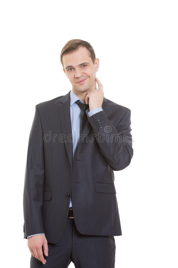 Body language. man in business suit isolated on. Body language. man in business suit isolated white background. gesture lie or doubt. touching the neck royalty free stock photos