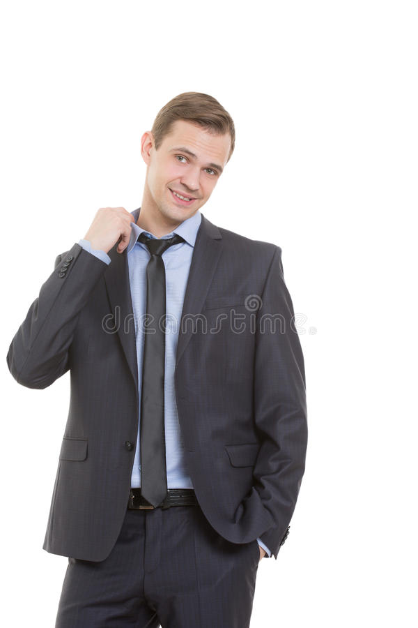 Body language. man in business suit isolated on. Body language. man in business suit isolated white background. gesture pulling the collar. fear of exposure royalty free stock photos