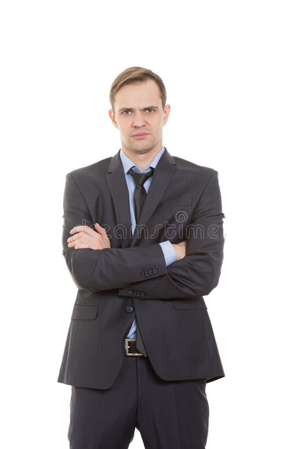 Body language. man in business suit isolated white. Body language. man in business suit isolated on white background. gestures of arms and hands. posture of royalty free stock photos