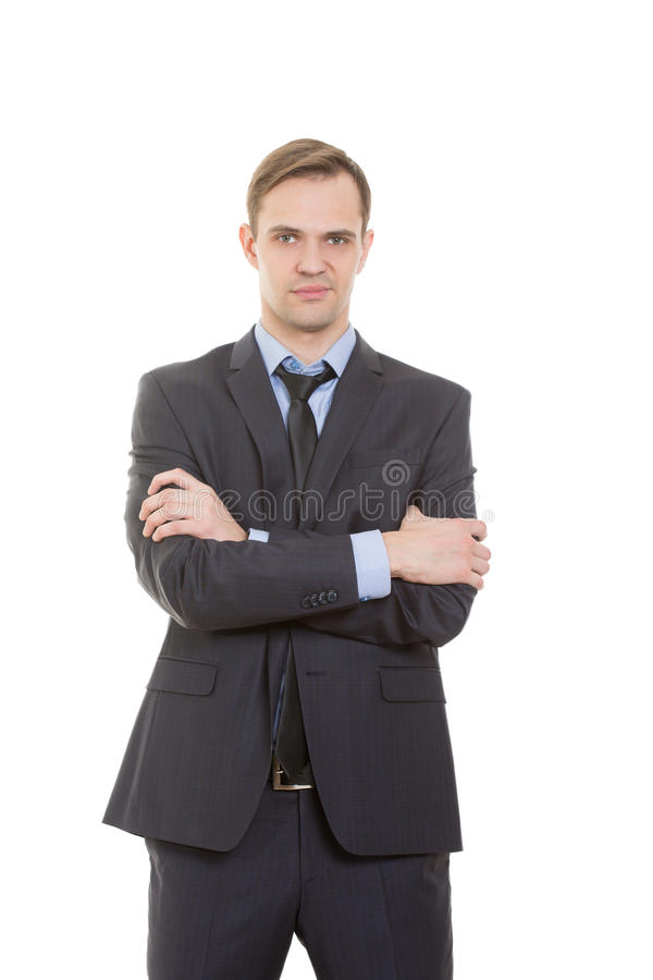 Body language. man in business suit isolated white. Body language. man in business suit isolated on white background. gestures of arms and hands. posture of stock photography