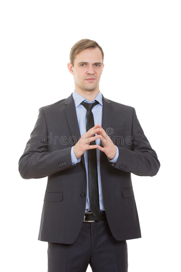 Body language. man in business suit. On white background stock photos