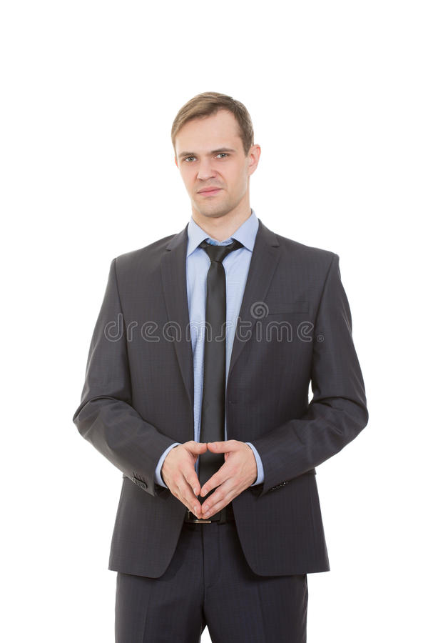 Body language. man in business suit. On white background stock images