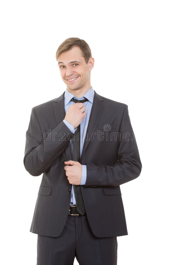 Body language. man in business suit. On white background royalty free stock photos