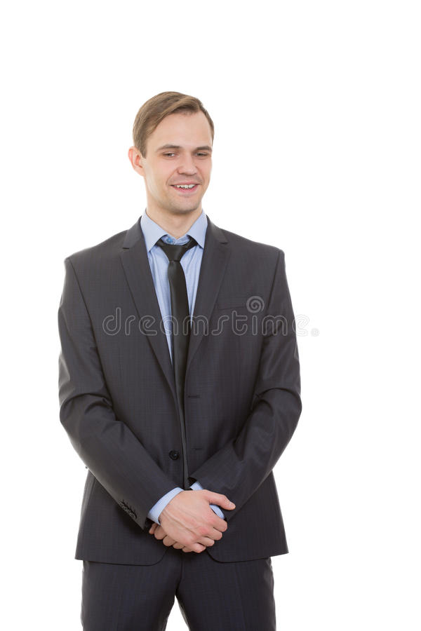 Free Body Language. Man In Business Suit Isolated White Royalty Free Stock Photos - 63157598