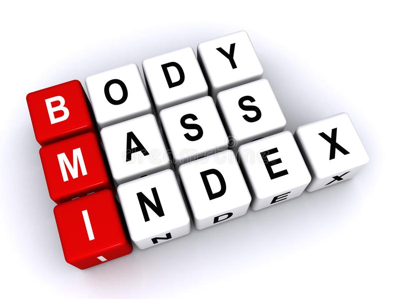 Body mass index. Text 'body mass index' inscribed on small cubes and placed in three rows with the first letters of each row 'bmi' in white uppercase letters on vector illustration