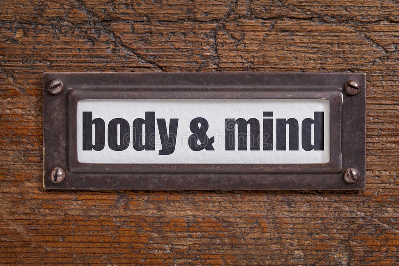 Body and mind label stock photos