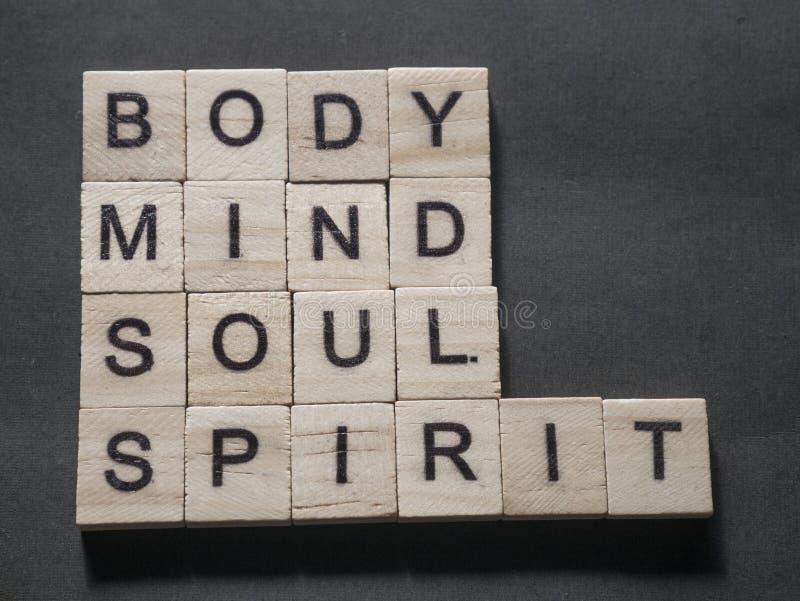 Body Mind Soul Spirit, Motivational Words Quotes Concept. Body Mind Soul Spirit, business motivational inspirational quotes, words typography lettering concept royalty free stock photos