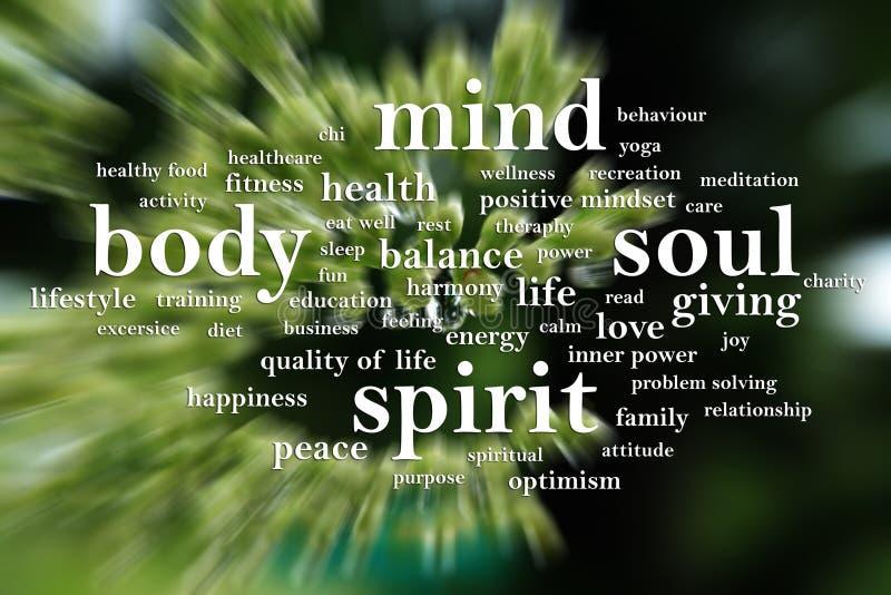 Body Mind Soul Spirit, Motivational Words Quotes Concept. Body Mind Soul Spirit, business motivational inspirational quotes, words typography lettering concept royalty free stock photography