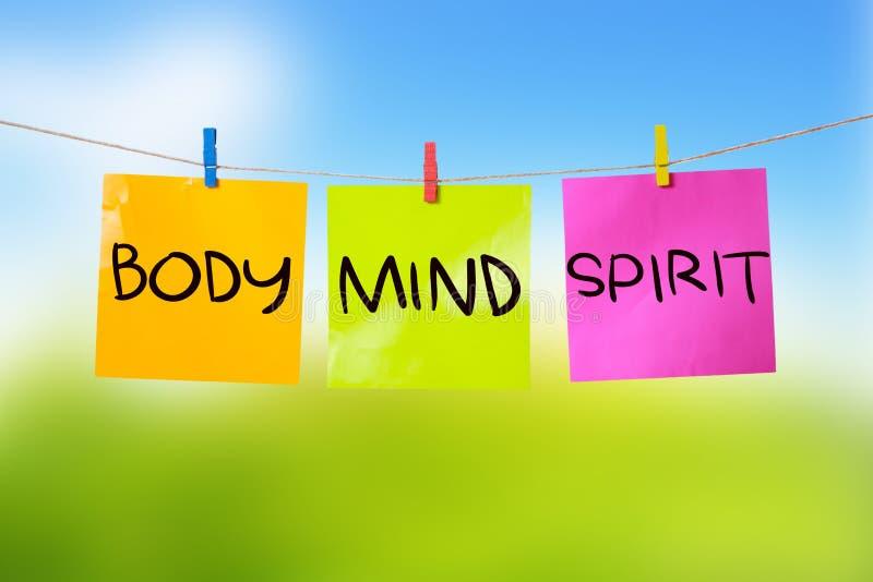 Body Mind Soul Spirit, Motivational Words Quotes Concept. Body Mind Soul Spirit, business motivational inspirational quotes, words typography lettering concept royalty free stock image