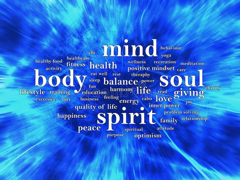 Body Mind Soul Spirit, Motivational Words Quotes Concept. Body Mind Soul Spirit, business motivational inspirational quotes, words typography lettering concept stock illustration