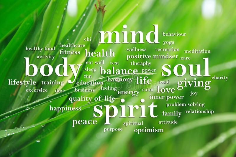 Body Mind Soul Spirit, Motivational Words Quotes Concept. Body Mind Soul Spirit, business motivational inspirational quotes, words typography lettering concept stock photography