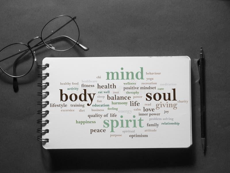 Body Mind Soul Spirit, Motivational Words Quotes Concept. Body Mind Soul Spirit, business motivational inspirational quotes, words typography lettering concept stock images