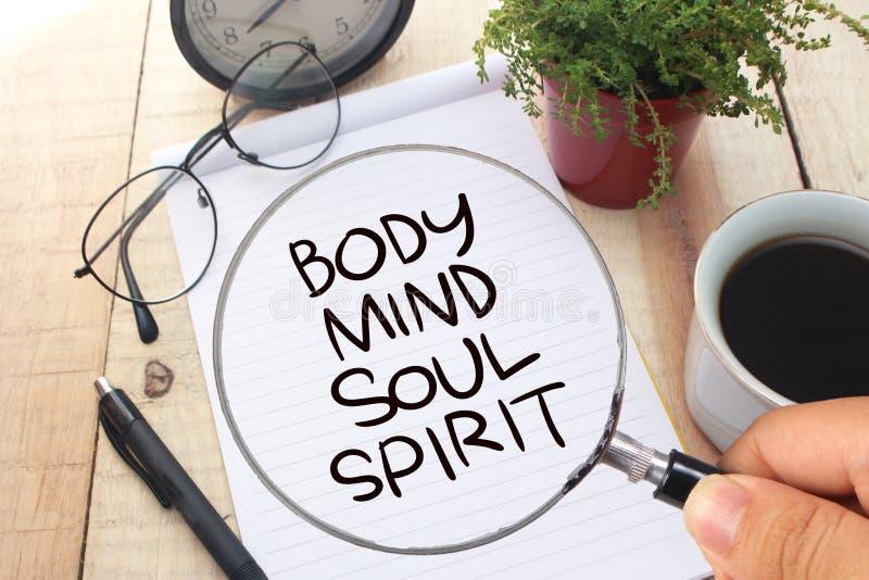 Body Mind Soul Spirit, Motivational Words Quotes Concept. Body Mind Soul Spirit, business motivational inspirational quotes, words typography lettering concept stock image