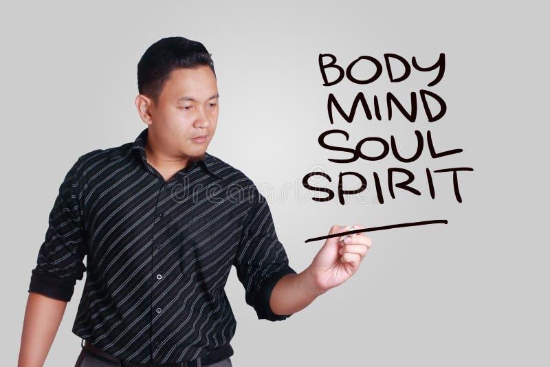 Body Mind Soul Spirit, Motivational Words Quotes Concept. Body Mind Soul Spirit, business motivational inspirational quotes, words typography lettering concept royalty free stock images