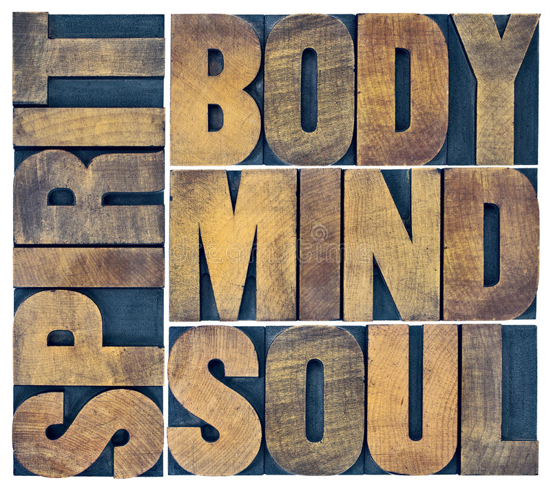 Body, mind, soul and spirit in wood type. Body, mind, soul and spirit word abstract - a collage of isolated text in vintage grunge wood letterpress printing royalty free stock photography