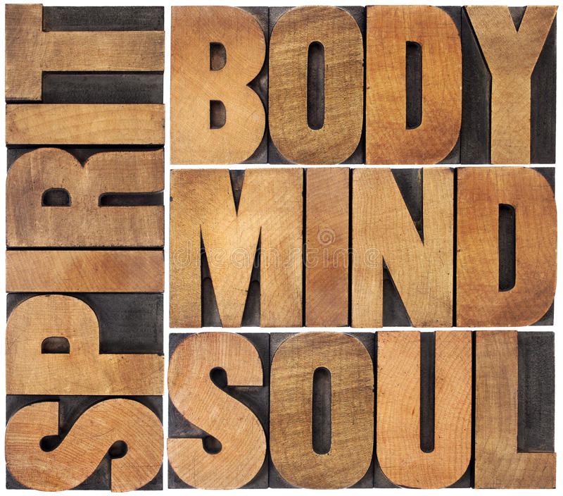 Body, mind, soul and spirit stock photography
