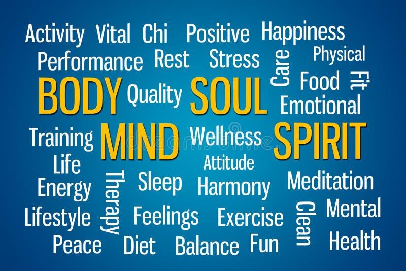 Body Mind Soul Spirit. Word cloud on blue background royalty free illustration
