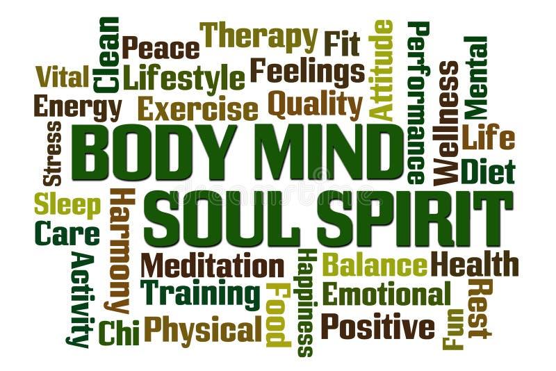 Body Mind Soul Spirit. Word cloud on white background royalty free illustration