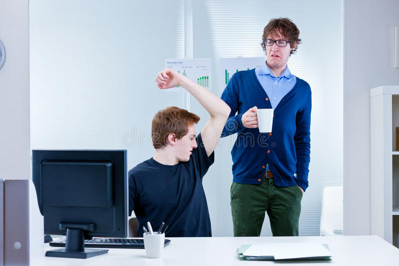 Body odour coming from pit stains royalty free stock photos