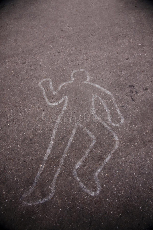 Download Body Outline on the Street stock photo. Image of accident - 9806678