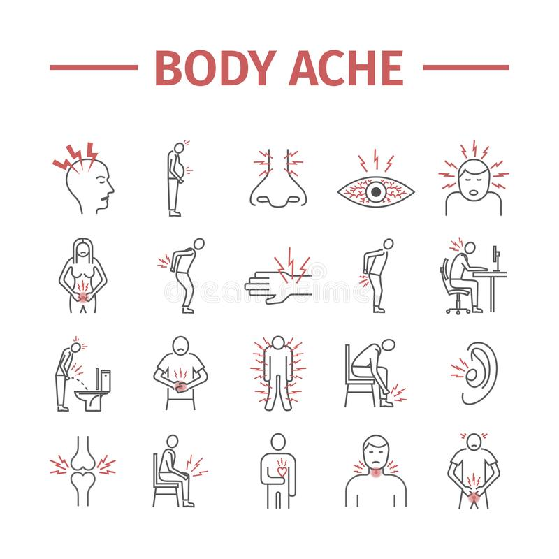 Body Pain and Injury line icons set. Vector illustration for websites. Medicine signs vector illustration