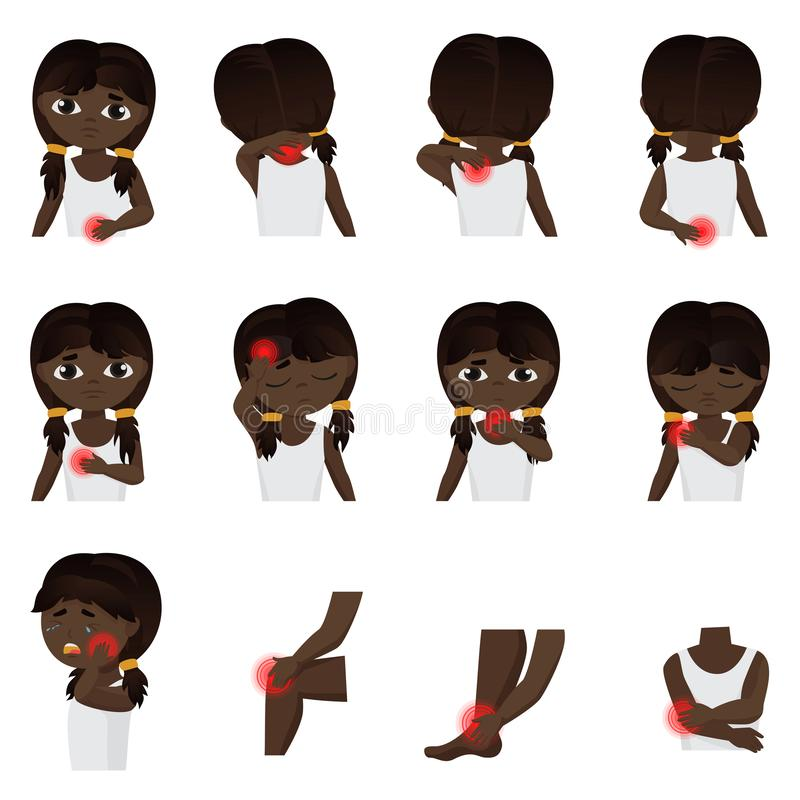 Body parts pain, child Diseases infographic set. Little black african american or brazilian girl kid feels pain in vector illustration
