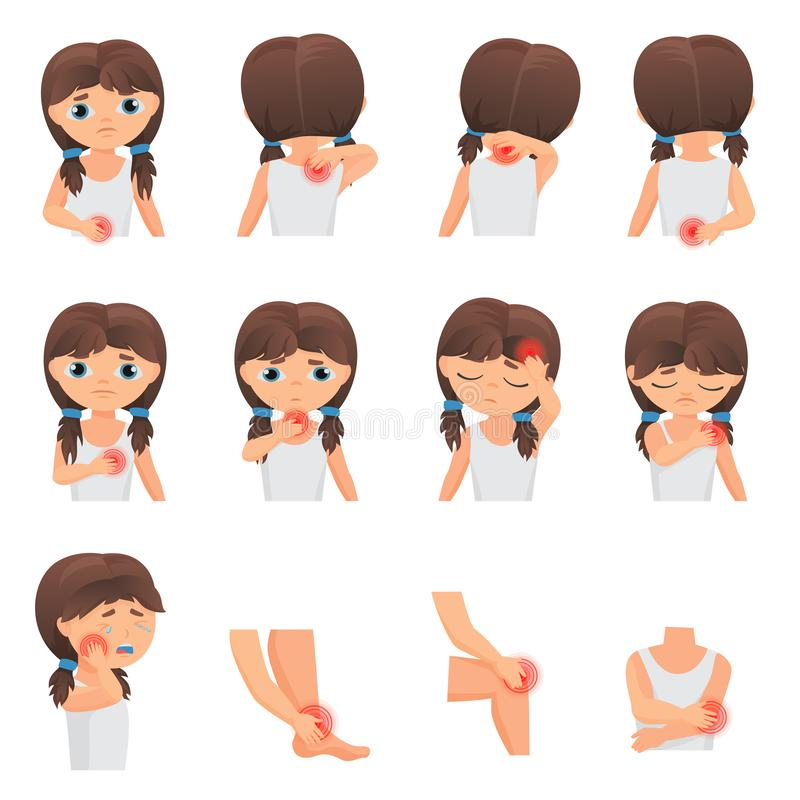 Body parts pain, child Diseases infographic set. Little girl kid feels pain in different parts of body flat vector stock illustration