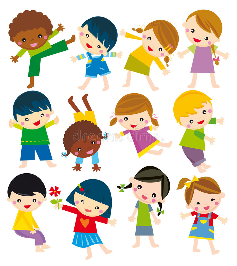 Body positions. Illustration of set of children in different position
