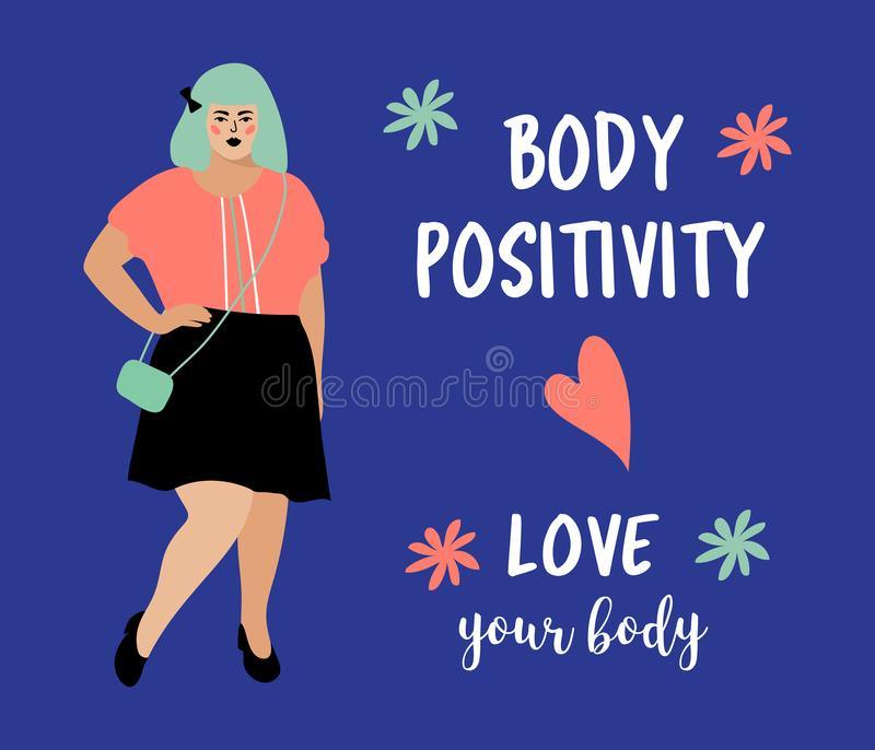 Body Positive card. Model plus size woman, Beautiful fat girl. Bodypositive poster. Vector flat design. Body Positive card. Model plus size woman, Beautiful fat stock illustration