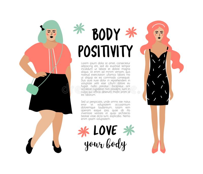 Body Positive card. Model plus size woman and skinny girl, place for text. Bodypositive poster. Vector flat design. Body Positive card. Model plus size woman and stock illustration