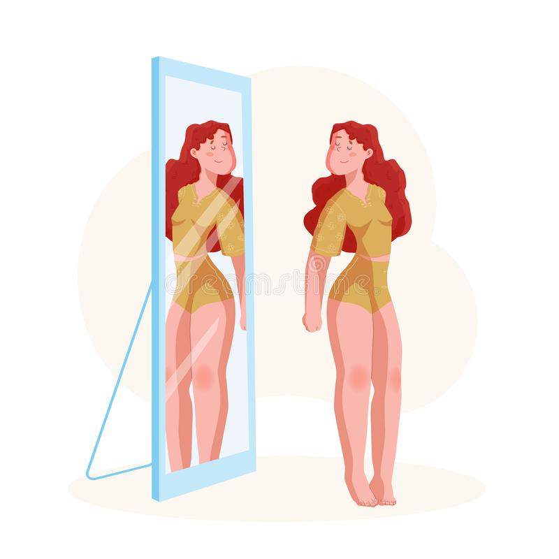 Body positive concept. Plus size Young Woman in home suit looking in mirror with smile. Happy curve girl in lingerie. Vector stock illustration