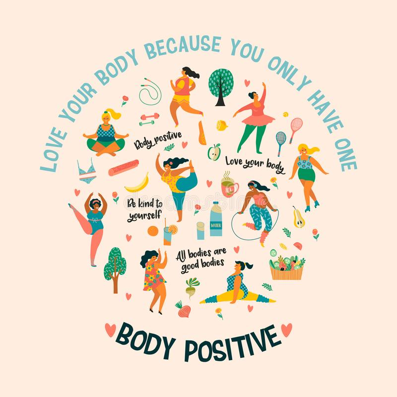 Body positive. Happy plus size girls and active healthy lifestyle. Vector illustration vector illustration