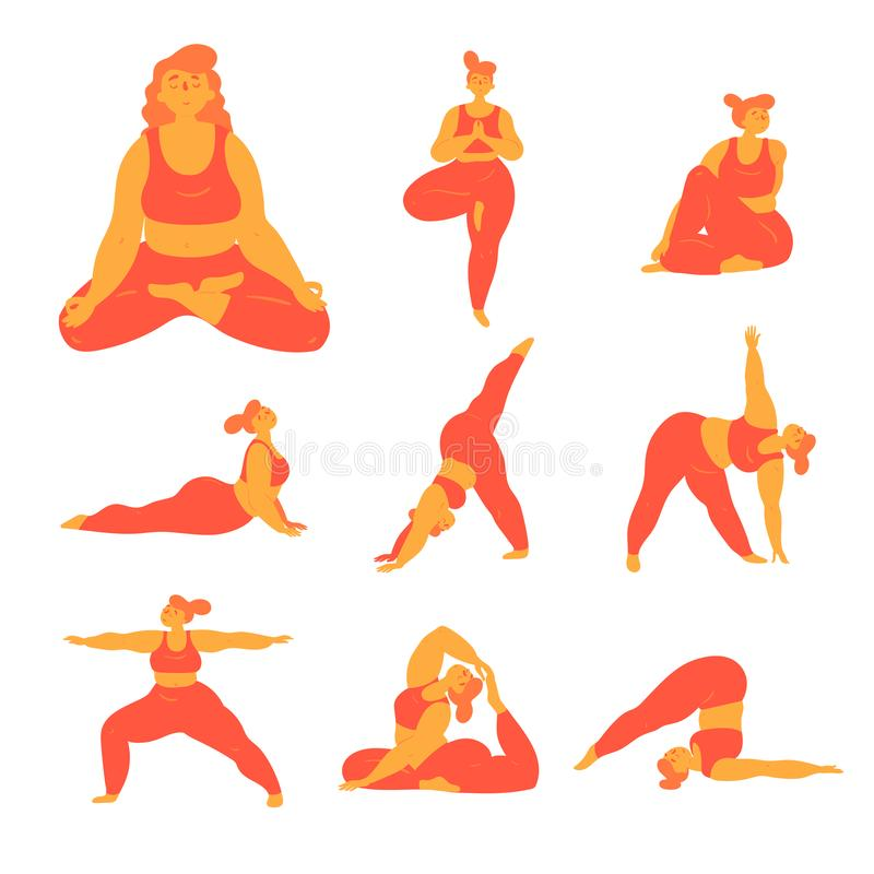 Body positive plus size woman doing yoga poses. Body positive woman doing yoga poses. Slightly overweight girl doing different asana exercises for stretching vector illustration
