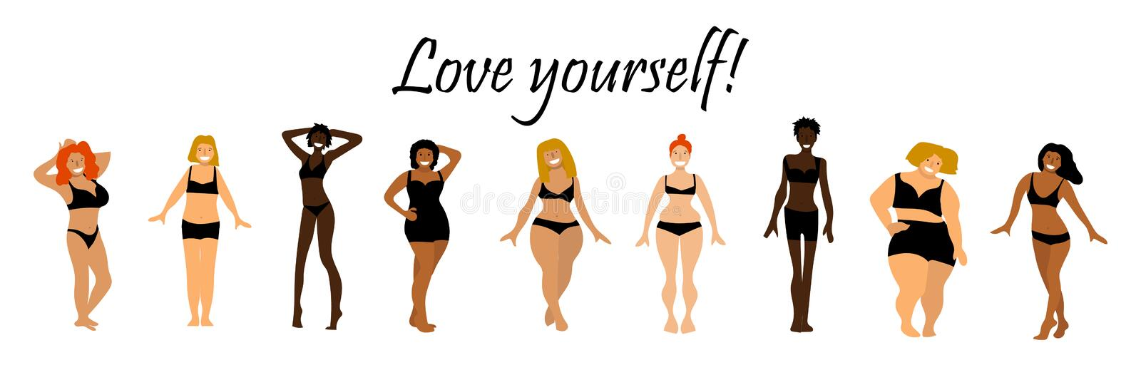 Body positive set. Love yourself text. Multiracial women of different height, figure type and size vector illustration