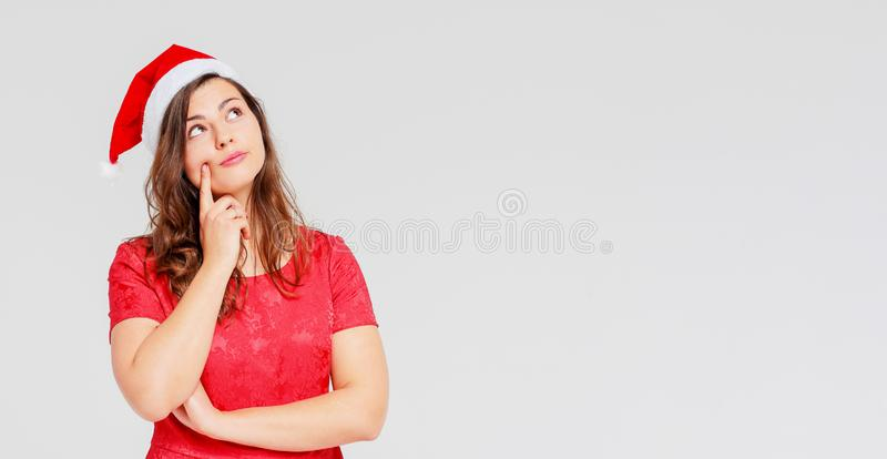 Body positive sharming beautiful girl brunette in red dress and royalty free stock photos